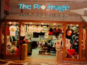 A picture of Bill Hawkes first Pro Image Sports store in 1988 at the Boise Towne Square.  They have been in over 10 different locations at various times over the past 25 years.