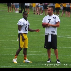 Steeler star wide receiver Antonio Brown spotted at training camp rocking a pair of Pittsburgh Strideline socks he got from one of the local Pro Image Sports in the area.